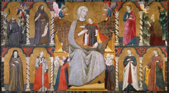 1307 Giuliano da Rimini Madonna con Bambino in trono, angeli e donatori, Isabella Stewart Gardner Museum, Boston