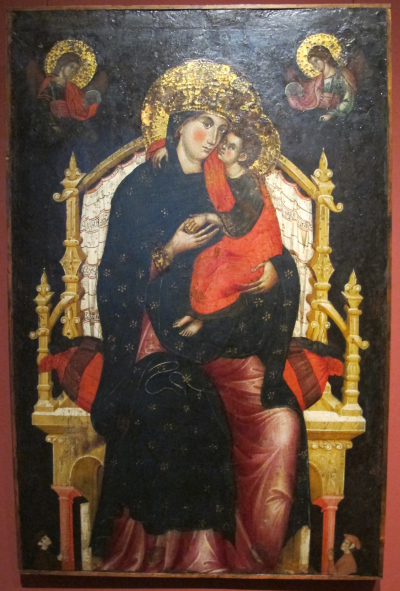 1310-15 MARCO DI MARTINO DA VENEZIA Vierge glykophilousa and Child Enthroned with Donors Pushkin Museum