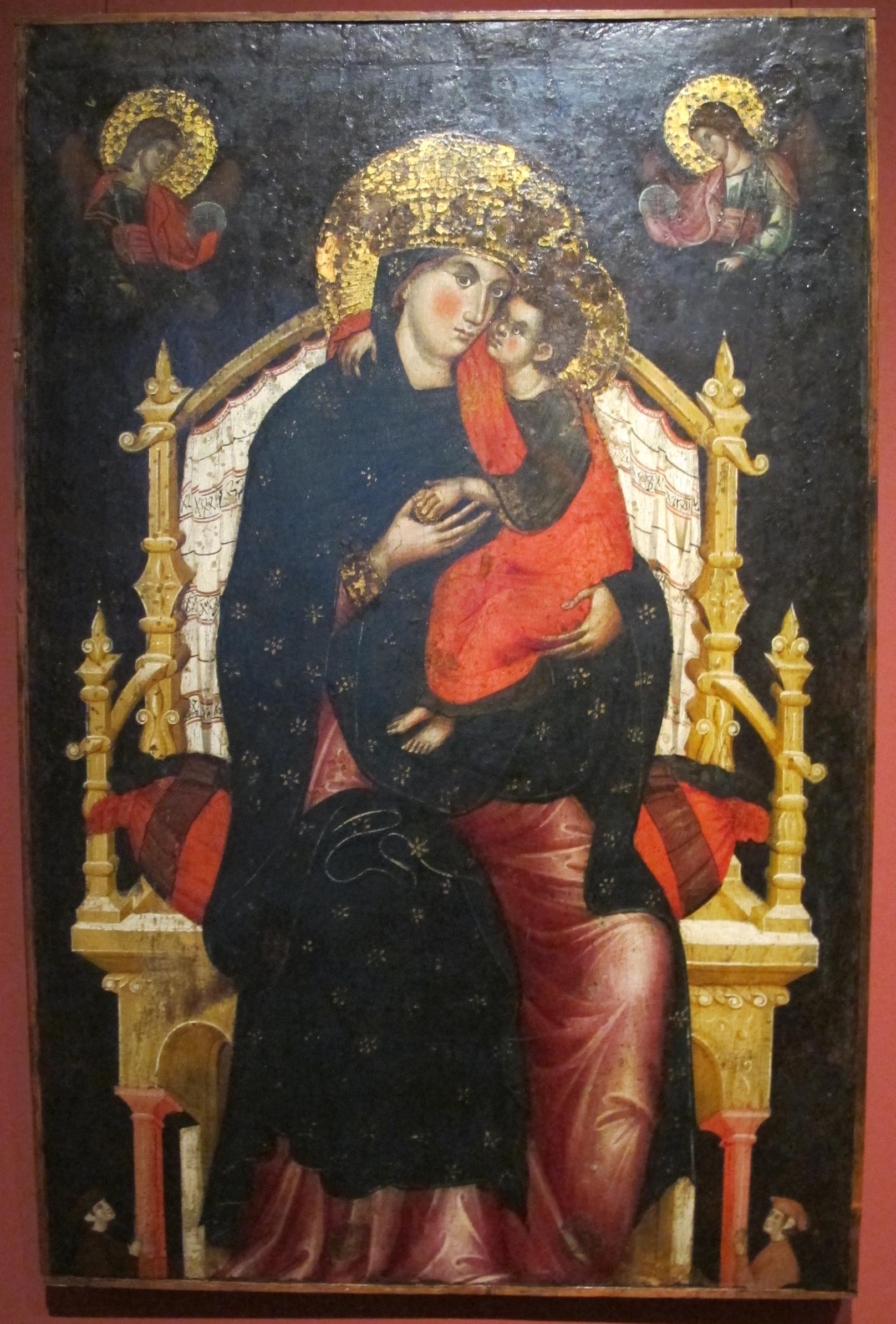 1310-15 MARCO DI MARTINO DA VENEZIA Vierge glykophilousa and Child Enthroned with Donors Pushkin Museum