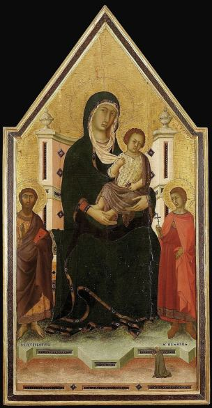 1310-30 Segna di Bonaventura, Madonna con Bambino in trono con san Bartolomeo, sant'Ansano e donatrice coll priv