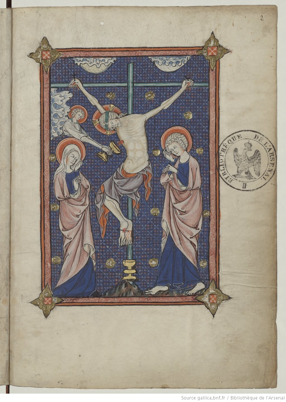 1311 La somme le Roi, ecrite par Lambert le petit Crucifixion Gallica Bibliotheque de l'Arsenal, Ms 6329, f2r