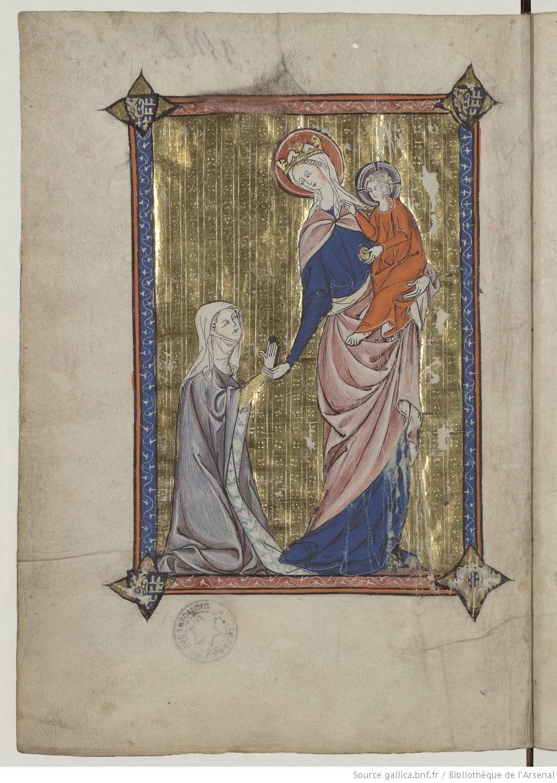 1311 La somme le Roi, ecrite par Lambert le petit Jeanne de Guines et Eu en prieres, Gallica Bibliotheque de l'Arsenal, Ms 6329, f1v