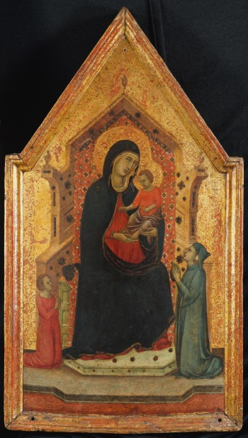1315-30 Goodhart Master Madonna and Child Enthroned with Two Donors MET schema