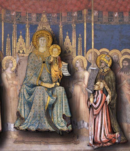 1317 lippo_memmi_Maesta donatore Nello Tolomei palazzo_comunale_in_san_gimignano detail