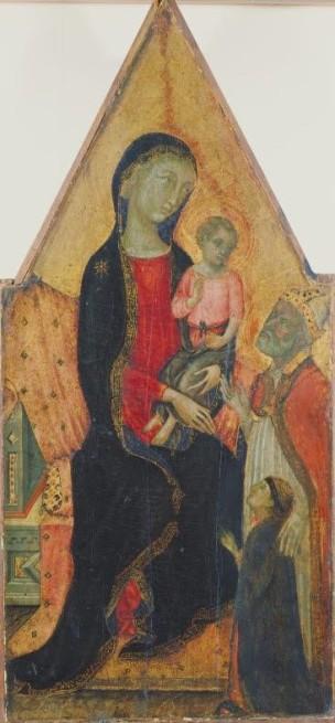 1320-60 Anonimo senese santo vescovo e donatore Allen Memorial Art Museum, Oberlin