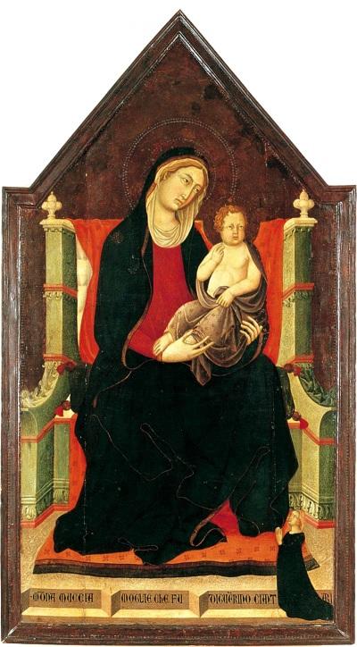 1320 Niccolo e Francesco di Segna, Madonna à trono con bambino e donatrice MUCCIA Ciantari wife of Guerino Ciantari , Lucignano, Museo