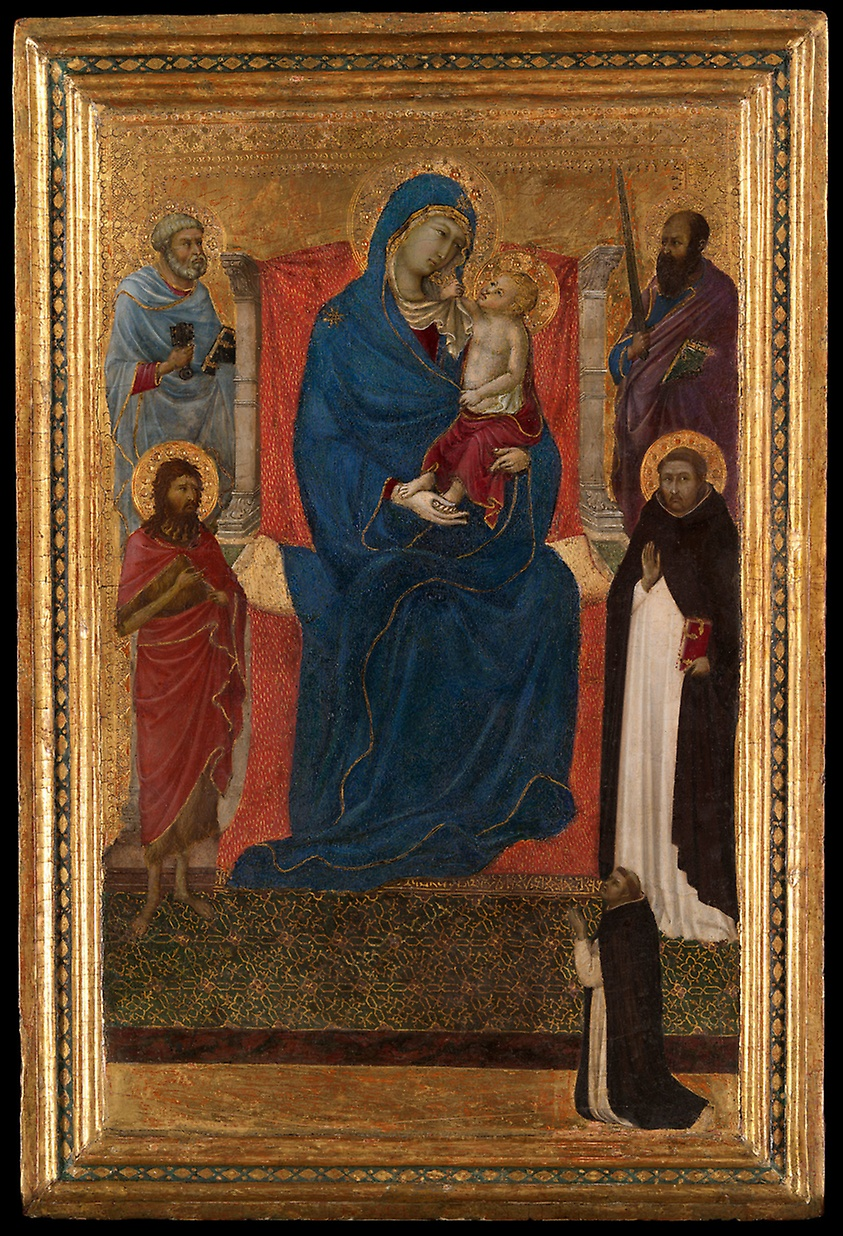 1325-35 Ugolino di Nerio with Saints Peter, Paul, John the Baptist, Dominic and a donor, The Art Institute of Chicago