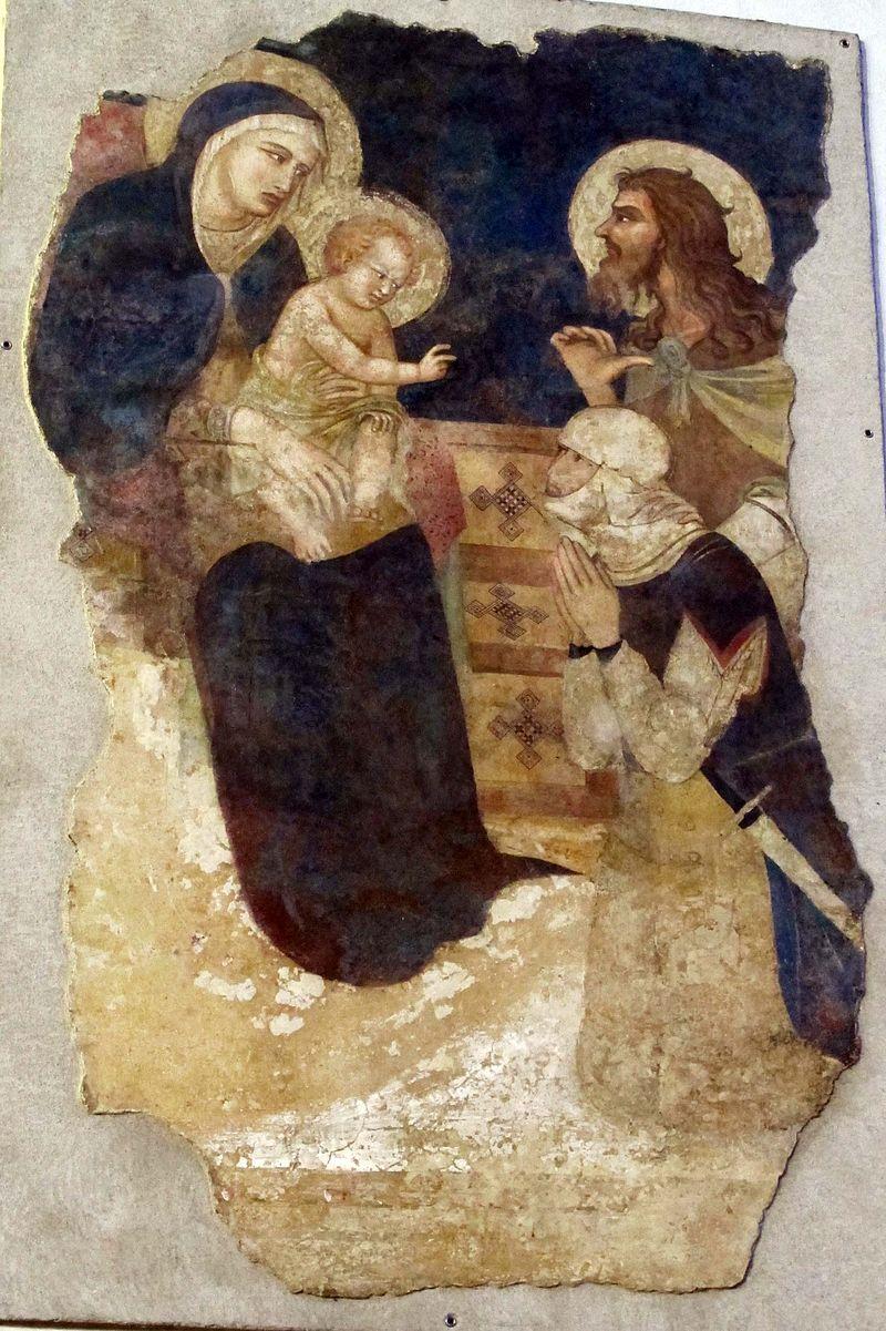 1325 ca Pietro Lorenzetti - San Giovanni Battista presenta un cavaliere alla Madonna col bambino. - Basilica di San Domenico, Siena