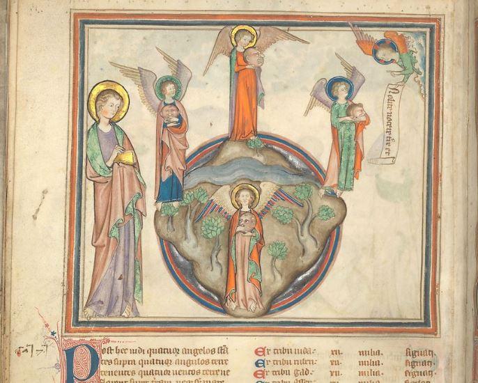 1330 Apocalypse des Cloisters fol 10v Le controle des quatre vents