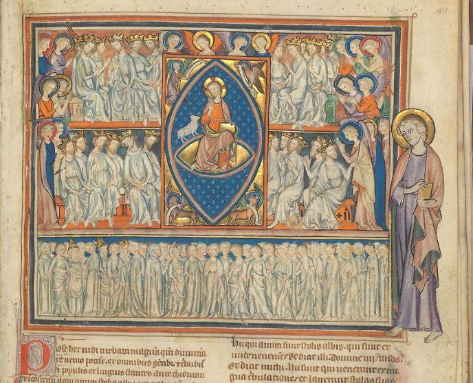 1330 Apocalypse des Cloisters fol 11r La benediction des Elus