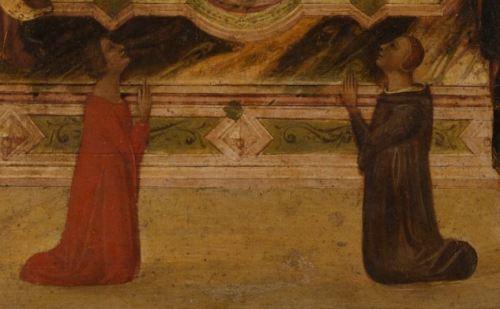 1330 avant Thronende Madonna mit Kind und Heiligen, Engeln und Stiftern, Jacopo del Casentino Staedel detail