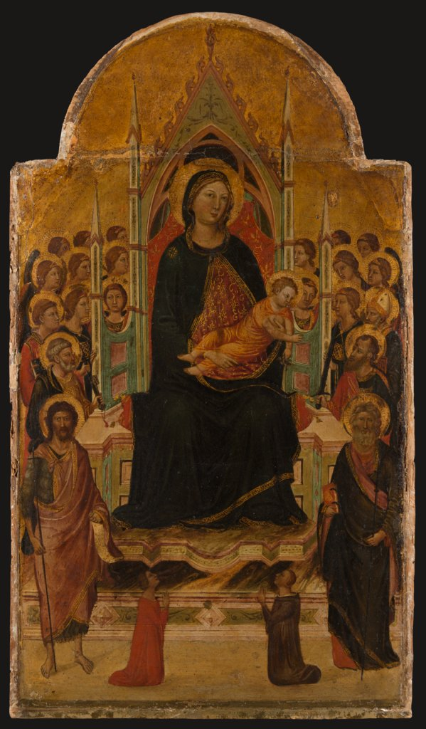 1330 avant Thronende Madonna mit Kind und Heiligen, Engeln und Stiftern, Jacopo del Casentino Staedel