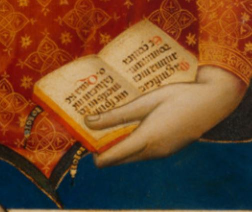 1330 ca Bernardo_Daddi Madonna,_Saint_Thomas_Aquinas,_and_Saint_Paul_Getty Museum detail