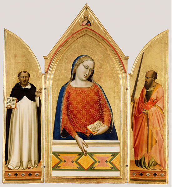 1330 ca Bernardo_Daddi Madonna,_Saint_Thomas_Aquinas,_and_Saint_Paul_Getty Museum