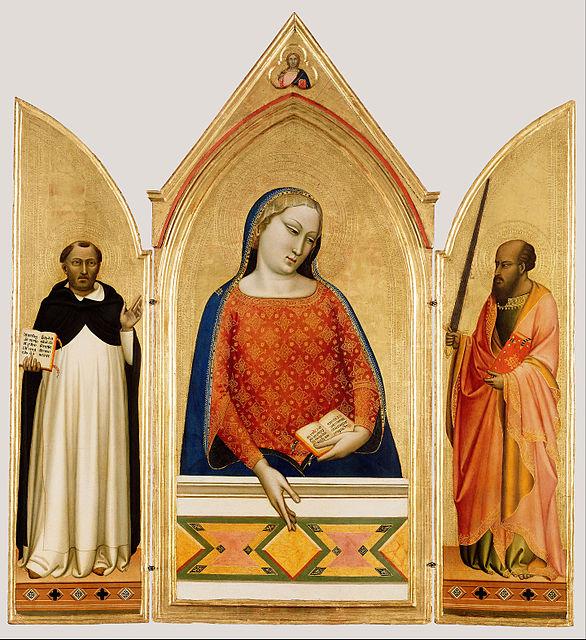 1330 ca Bernardo_Daddi Madonna,_Saint_Thomas_Aquinas,_and_Saint_Paul_Getty Museum