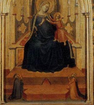1333 Bernardo_daddi,_altarolo_portatile maesta_angeli_e_donatori Loggia del Bigallo Florence detail