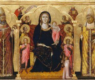 1333 Meo da Siena Madonna con Bambino in trono tra angeli e un donatore Stadel Francfort detail