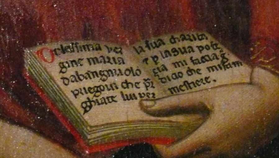1334 Bernardo_daddi,_madonna_tra_s._caterina_e_s._zanobi_coi_donatori Museo dell'Opera del Duomo Florence detail