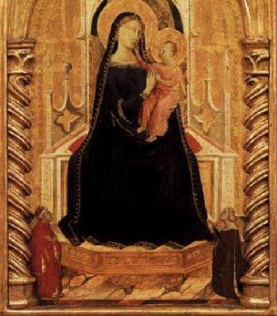 1334 Taddeo_daddi,_altarolo_portatile maesta_angeli_e_donatori Berlin Gemaldegalerie detail