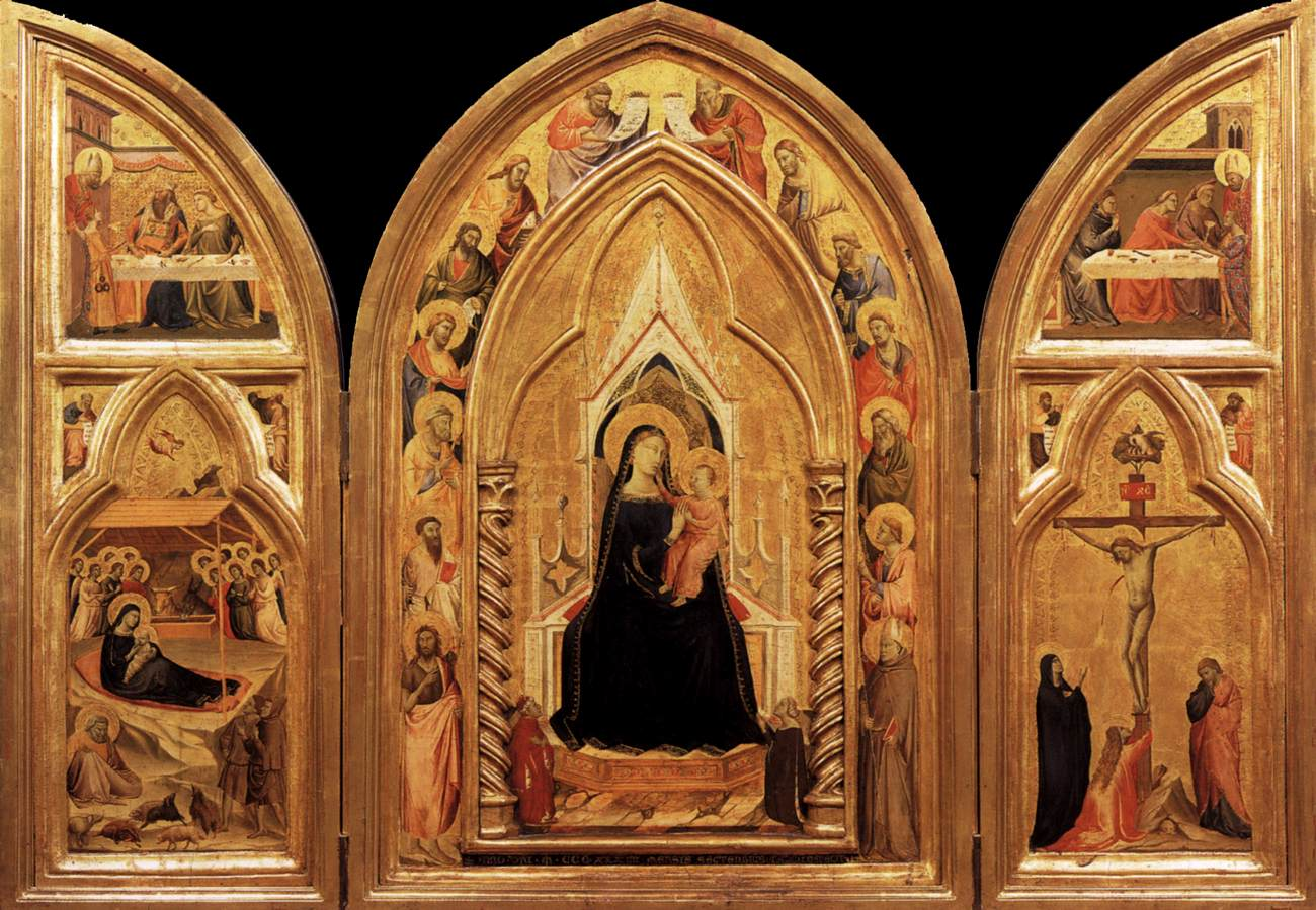 1334 Taddeo_daddi,_altarolo_portatile maesta_angeli_e_donatori Berlin Gemaldegalerie