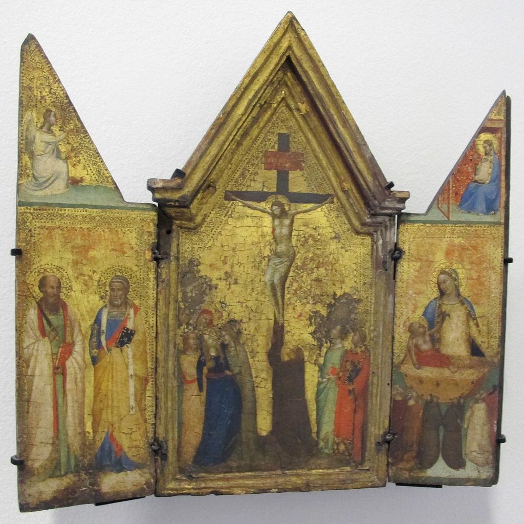 1335-40_ca Bernardo_daddi,_trittico_con_crocifissione,_annunciazione_e_santi,_. Kunstmuseum Bern