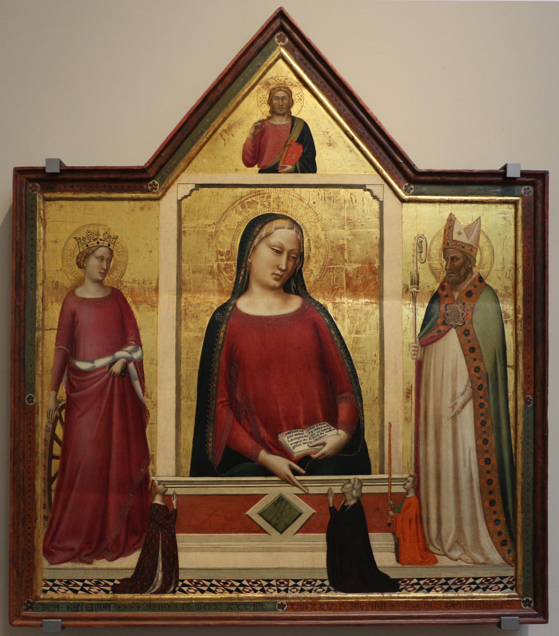 1335 Bernardo_daddi,_madonna_tra_s._caterina_e_s._zanobi_coi_donatori Museo dell'Opera del Duomo Florence