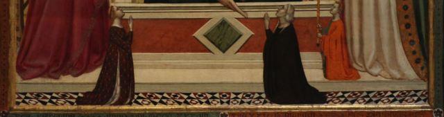 1335 Bernardo_daddi,_madonna_tra_s._caterina_e_s._zanobi_coi_donatori Museo dell'Opera del Duomo Florence detail