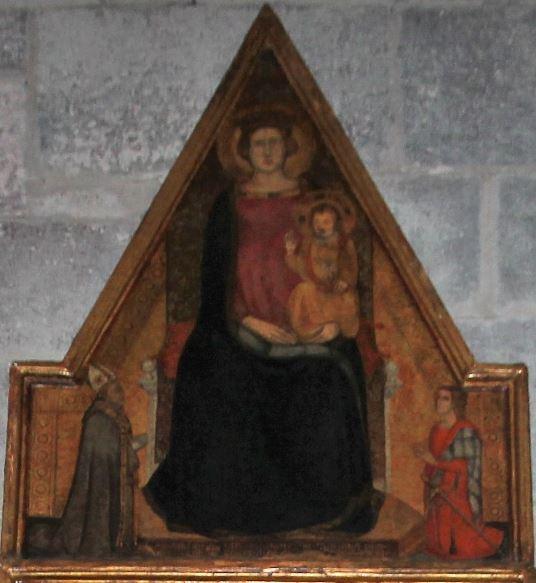 1338-43 Eveque Silvestro di Ottana et donateur Mariano d'Arborea Duomo Ottana Sardaigne fronton