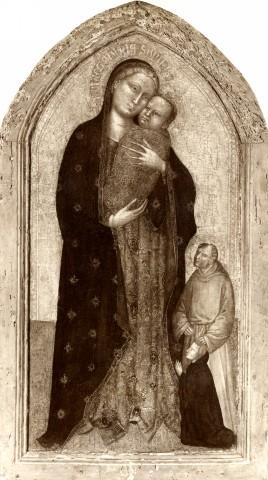 1350 - 1399 Maestro della pala di San Niccolo, Madonna con Bambino, santo monaco e donatore coll priv
