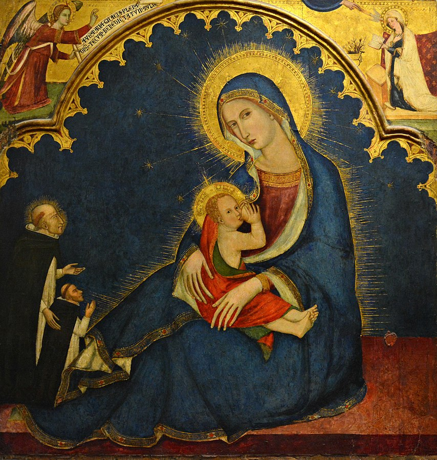 1350-55 Maestro_delle_Tempere_francescane_ Madonna_dell'Umilta_con_san_Domenico_e_donatore,_Capodimonte