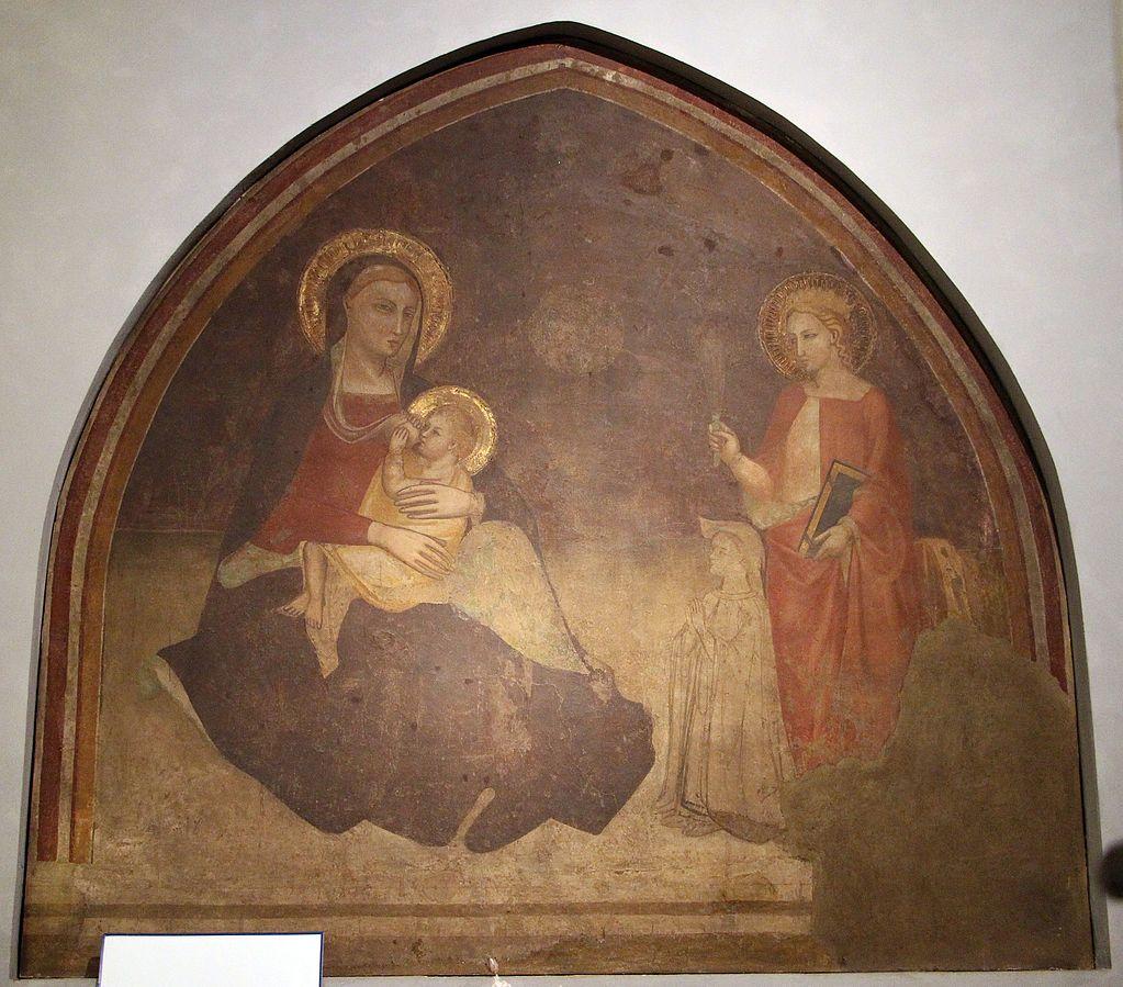 1350-99 Anonimo fiorentino sec. XIV, santa Caterina d'Alessandria e donatore Cappella Della Pura Chiesa di S. Maria Novella, Firenze