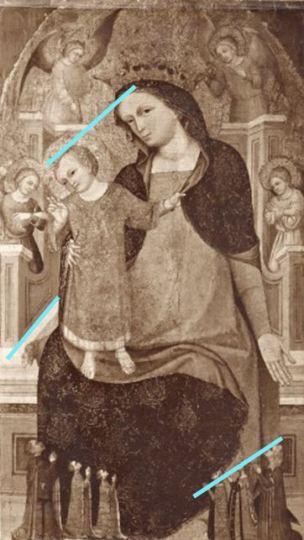 1350-99 Maestro di Sant'Elsino, Madonna con Bambino in trono, angeli e donatori coll priv schema