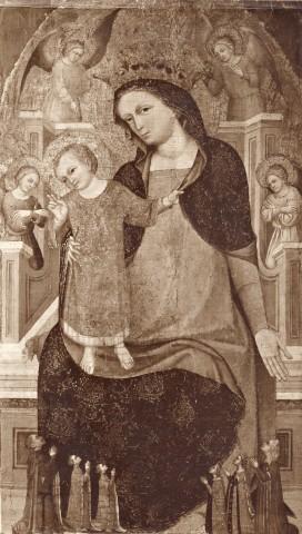 1350-99 Maestro di Sant'Elsino, Madonna con Bambino in trono, angeli e donatori coll priv