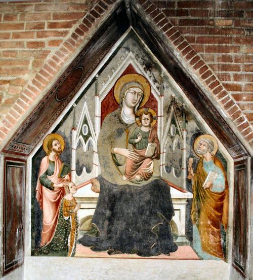 1350-99 Memmo di Filipuccio san Giacomo Maggiore, san Pietro e donatrice Chiesa dei SS. Jacopo e Filippo Certaldo