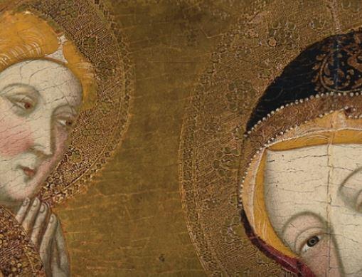1359-62 Jaime Serra Virgen de Tobed con Enrique II de Castilla y la reina Juana Manuel, Prado Madrid detail