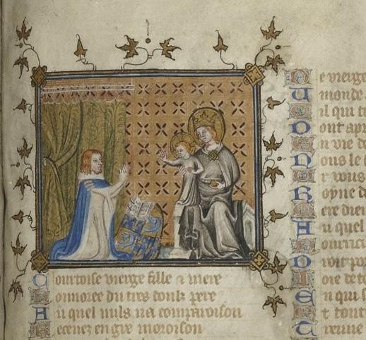 1362-63, Charles V devant la Vierge à l'Enfant Bible historiale , vol. 2 Proverbes à Apocalypse, Gallica MS 5707 fol 368r