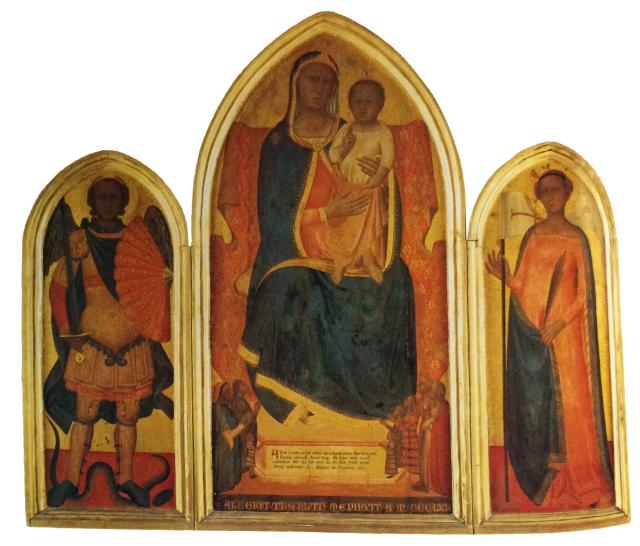 1365 Nuzi Allegretto, Madonna con Bambino in trono e donatori, San Michele Arcangelo, Sant'Orsola famiglia di Nofrio Santi, Pinacoteca vaticana