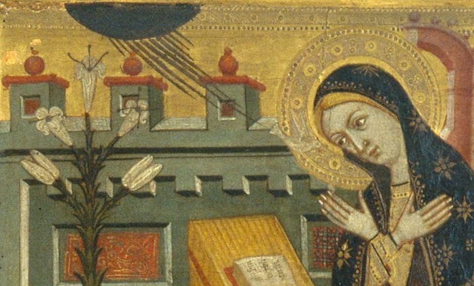 1365 ca Workshop_of_Llorenc_Saragossa_-Saint_Clare_and_Saint_Anthony_the_Abbott_Museu Nacional d'Art de Catalunya detail