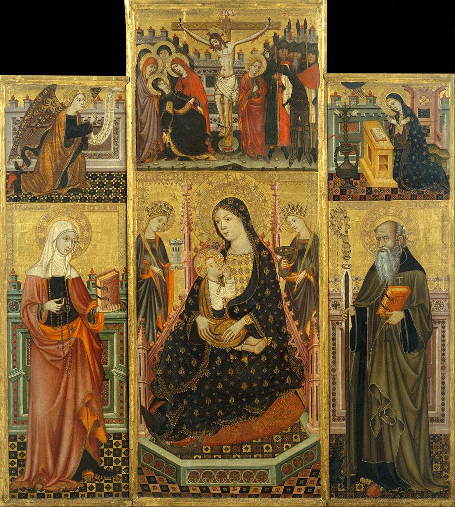 1365 ca Workshop_of_Llorenc_Saragossa_-Saint_Clare_and_Saint_Anthony_the_Abbott_Museu Nacional d'Art de Catalunya