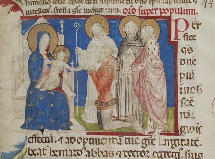 1369-73 jean darbois Missa_in_festivitate_sancti_Bernardi_BNF, ms. lat. 1142 fol1r