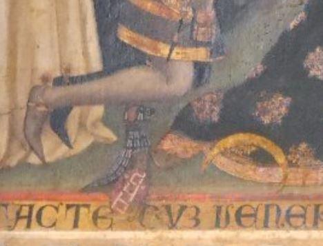 1370 Lorenzo Venaziano San Domenico e San Pietro martire Cangrande II della Scala ed Elisabetta di Baviera ouTaddea di Carrara Santa Anastasia Verone detail