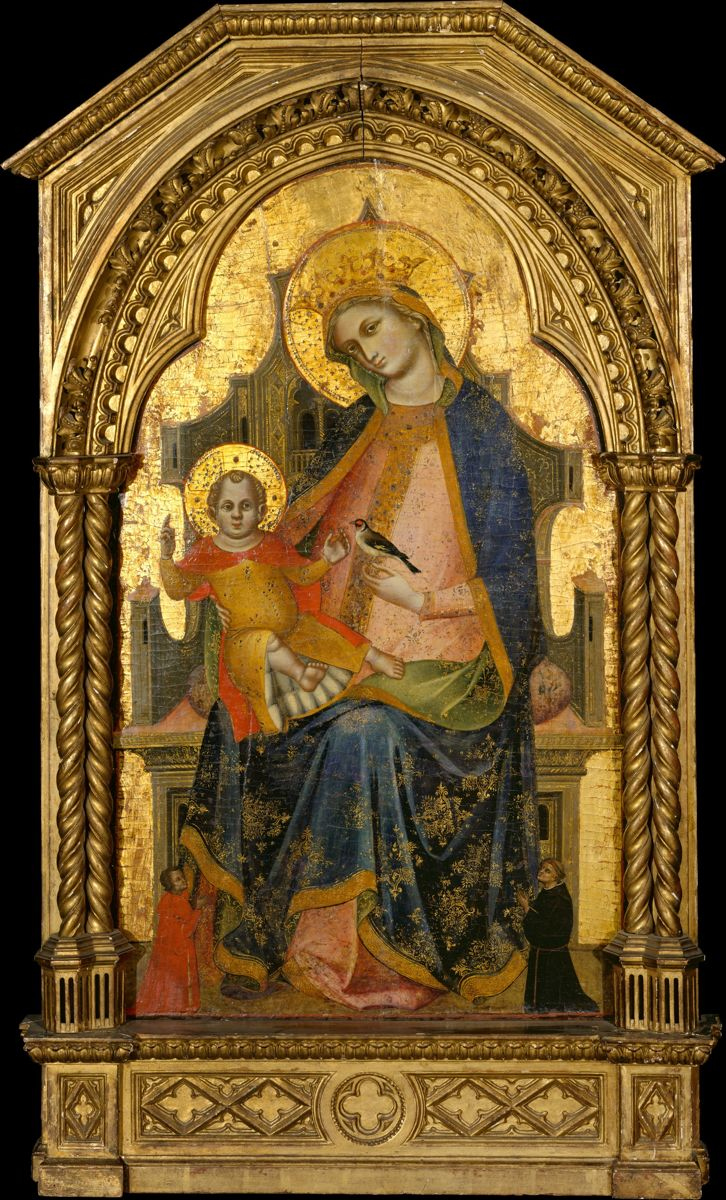 1370 Lorenzo Veneziano Madonna and Child Enthroned with Two Donors MET