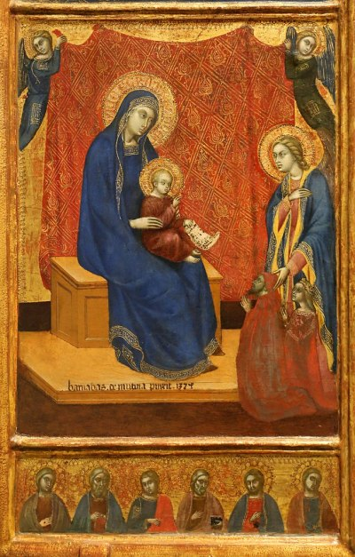 1374 Barnaba da Modena 'The Madonna Enthroned and Two Donors in Adoration