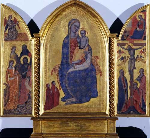 1375-80 Master of the Infancy of Christ (avant jacopo-di-cione)-madonna-con-bambino-e-due-donatori-annunciazione-e-santi Accademia Firenze