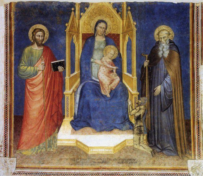 1377 Spinello Aretino - Madonna con Bambino in trono, Santi e donatore - - affresco staccato - Museo Diocesano, Arezzo