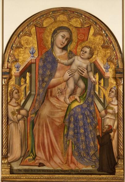 1378 Simone di Filippo Madonna col Bambino, angeli e il donatore Giovanni da Piacenza Pinacoteca Bologna