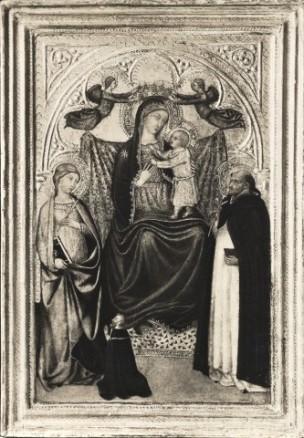 1380 - 1422 Taddeo di Bartolo, Madonna con Bambino, santa martire, san Domenico e donatore Collezione P. Bottenwieser, Berlino