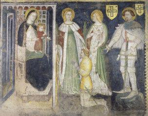 1382 Simone da Corbetta Santa Caterina, Sant'Orsola, San Giorgio e il committente Teodorico da Coira Dalla chiesa di Santa Maria dei Servi di Milano