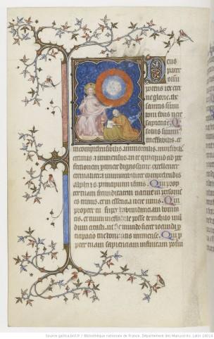 1385-90 Jean de Berry devant la Vierge à l'Enfant Petites heures de Jean de Berry, Gallica MS 18014 fol 100v