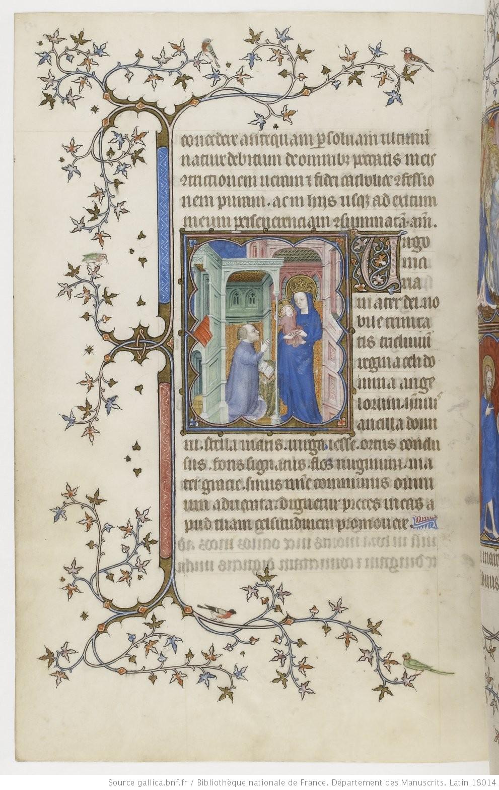1385-90 Jean de Berry devant la Vierge à l'Enfant Petites heures de Jean de Berry, Gallica MS 18014 fol 103v